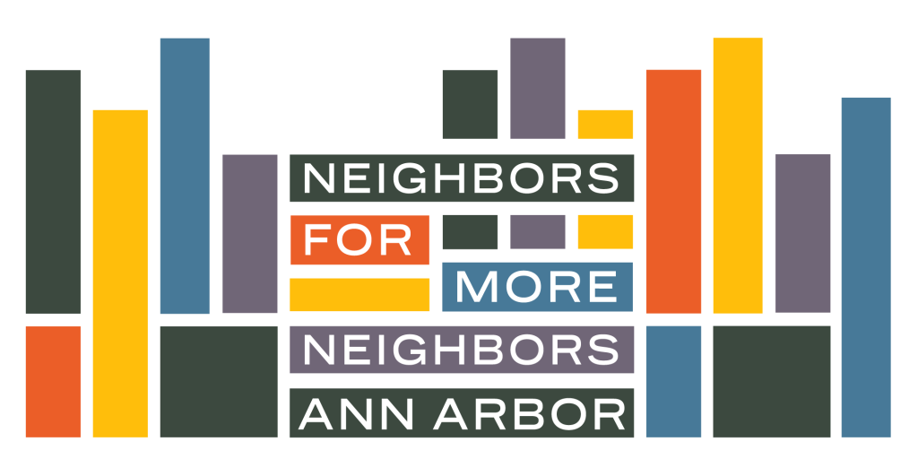 "Logo for ""Neighbors for More Neighbors Ann Arbor."" A series of interlocking shapes that look like buildings in green, orange, yellow, and blue."
